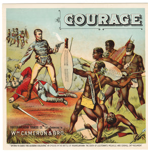 COURAGE Caddy Label || British-American Tobacco Co., W.M. Cameron & Bro., Old, Vintage - TheBoxSF