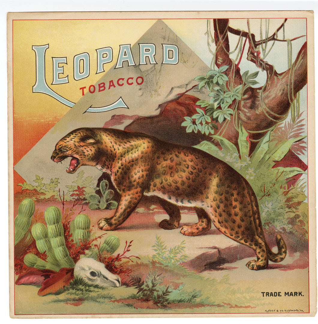 Trade Mark LEOPARD TOBACCO Caddy Label || A. Hoen & Co., Old, Vintage - TheBoxSF