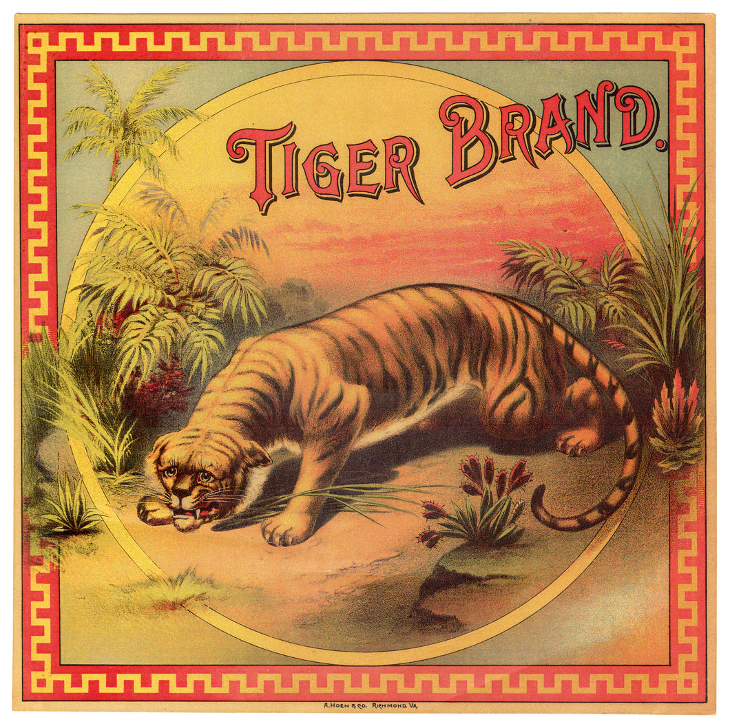TIGER BRAND Caddy Crate Label || A. Hoen & Co., Old, Vintage - TheBoxSF