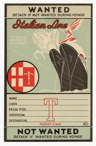 "Unused ITALIAN LINE Passenger Steamship Luggage LABEL, Tourist Class || ""The De Luxe Gateway to All Europe"""