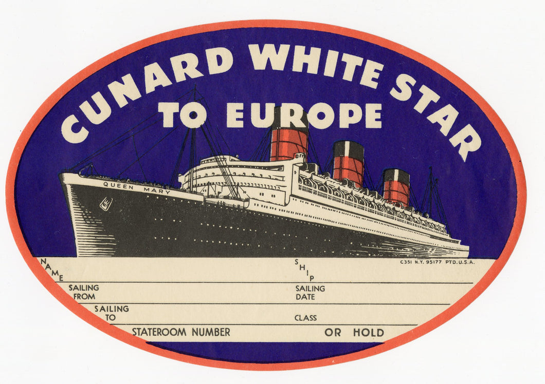 Original Unused QUEEN MARY CUNARD WHITE STAR Line To Europe Luggage Label || Deadstock