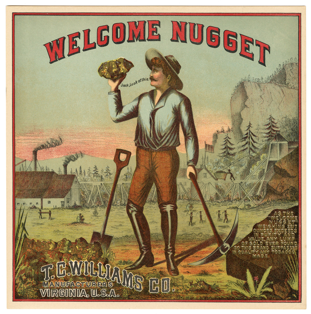 WELCOME NUGGET Caddy Crate Label || T.C Williams Co., Old, Vintage