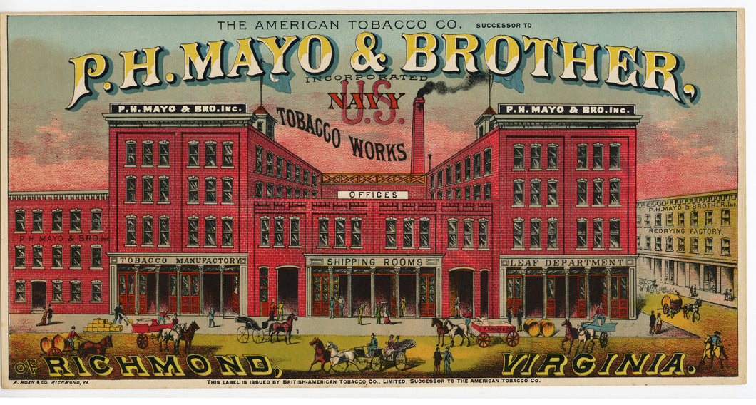 US NAVY Caddy Label || P.H. Mayo & Brother, Inc., British-American Co., Richmond, Virginia, Old, Vintage - TheBoxSF
