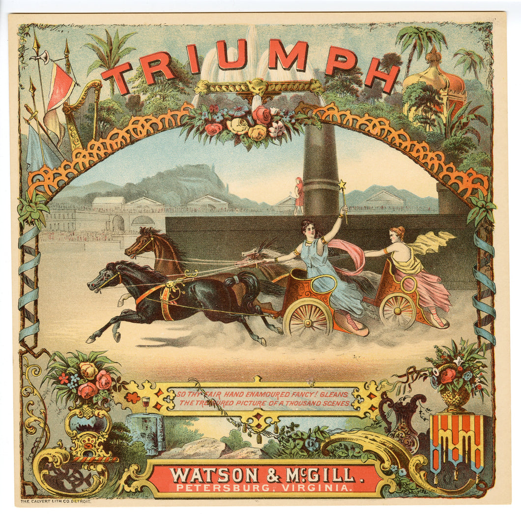 TRIUMPH Caddy Label || Watson and McGill, Calvert Co. Lithograph, Old, Vintage, Horses - TheBoxSF