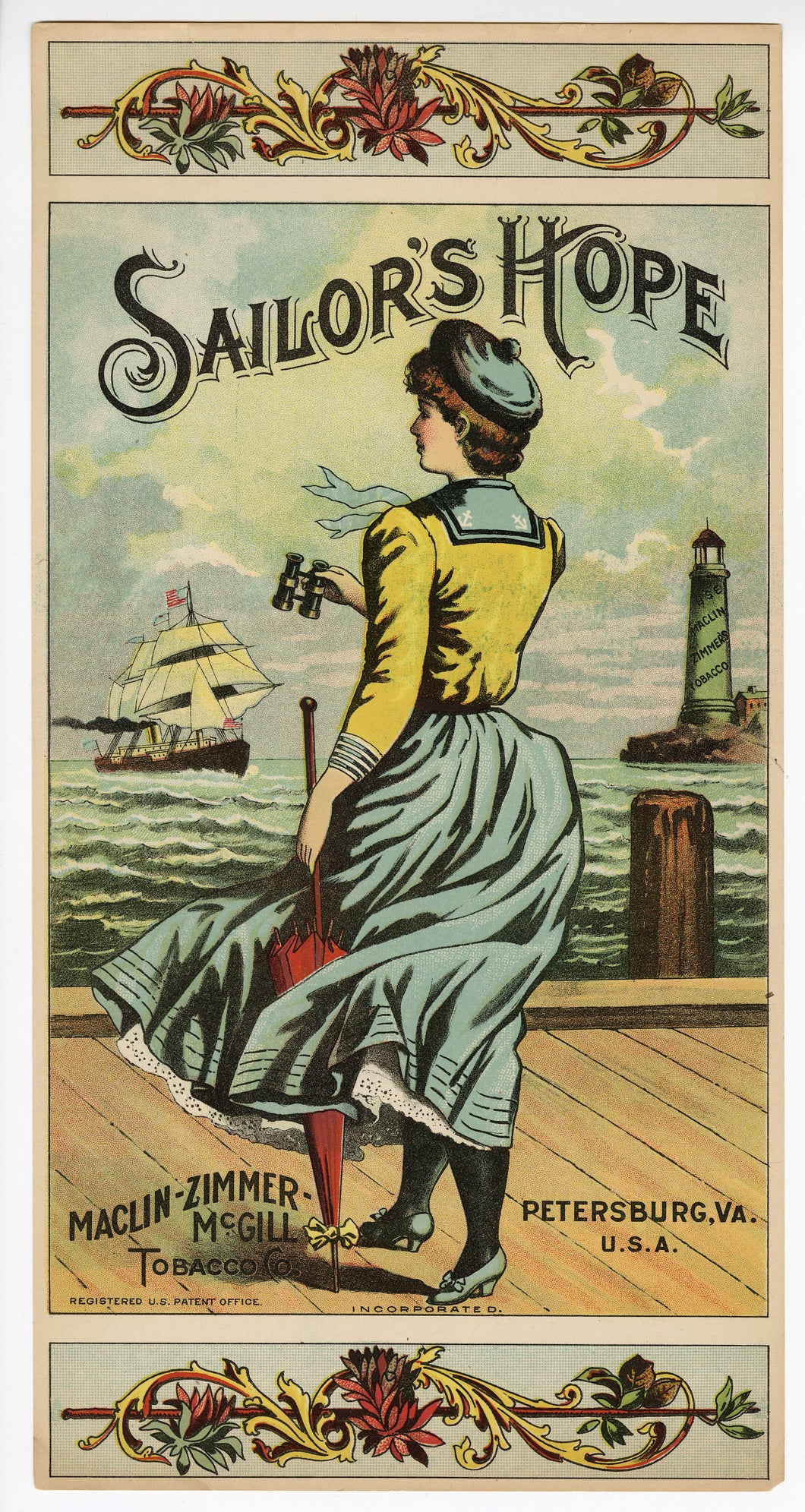SAILOR'S HOPE Caddy Label || Maclin-Zimmer McGill, Petersburg, Virginia, Woman Looking out to Sea, Old, Vintage - TheBoxSF