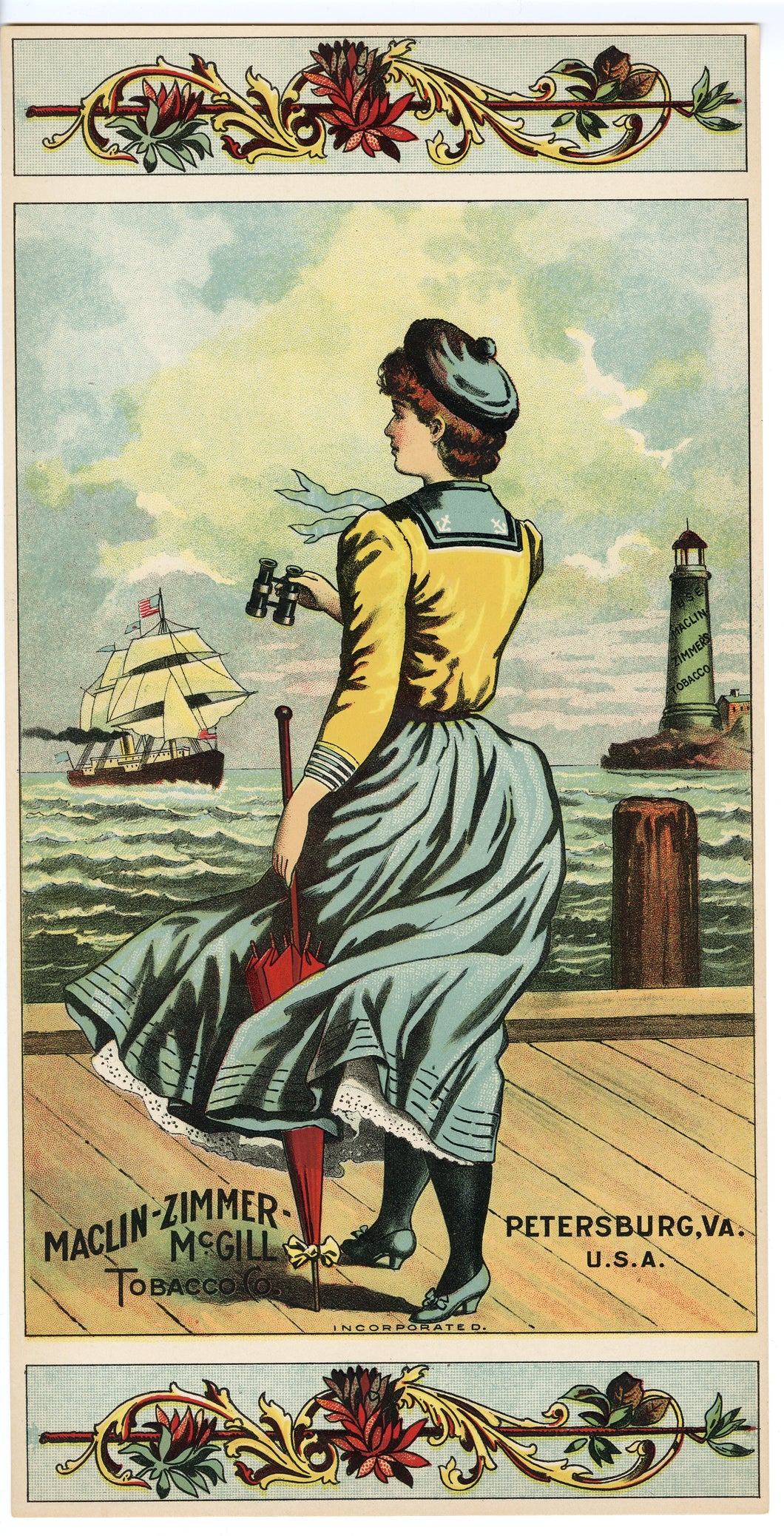 SAILOR'S HOPE UNLABELED Caddy Crate Label || Maclin-Zimmer McGill, Petersburg, Virginia, Woman Looking out to Sea, Old, Vintage - TheBoxSF