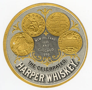 Celebrated HARPER WHISKEY Label || New Orleans and Chicago, Vintage