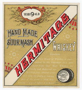 HERMITAGE Sour Mash WHISKEY Label || W.A. Gaines, Old Crow, Aged Nine Years, Gold, Vintage