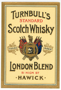 JAMES TURNBULL SCOTCH WHISKY Three Labels & Brochure || CELEBRATED BLEND, RARE OLD LIQUEUR, TRADEMARK LONDON BLEND, Hawick, Edinburgh, Leith, Scotland, Vintage - TheBoxSF