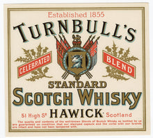 Load image into Gallery viewer, JAMES TURNBULL SCOTCH WHISKY Three Labels & Brochure || CELEBRATED BLEND, RARE OLD LIQUEUR, TRADEMARK LONDON BLEND, Hawick, Edinburgh, Leith, Scotland, Vintage - TheBoxSF