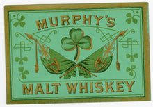 Load image into Gallery viewer, MURPHY'S MALT WHISKEY Label || Clover, Vintage