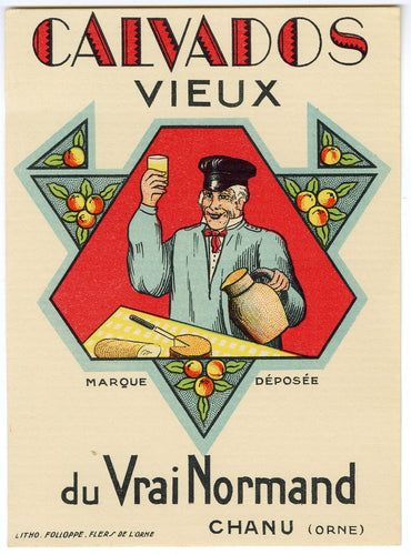 Antique, Unused, French CALVADOS VIEUX LABEL, Hard Cider, Normandy