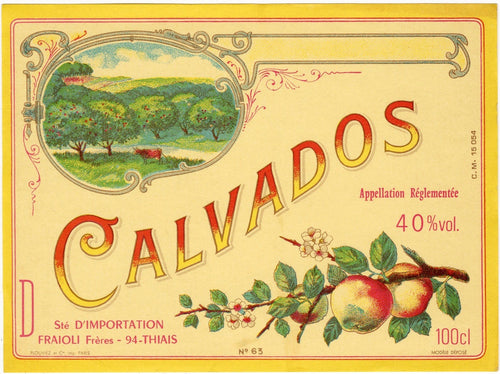 Antique, Unused, French CALVADOS LABEL, Hard Apple Cider, Orchard