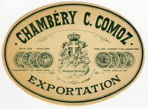 Antique, Unused, French CHAMBERY C. COMOZ VERMOUTH LABEL, Exportation