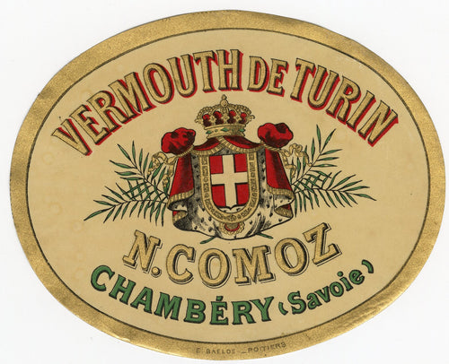 Antique, Unused, French VERMOUTH DE TURIN LABEL, Chambery, Alcohol