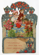 Load image into Gallery viewer, Antique 1920's Pop-Up VALENTINE || Bicycle Built For Two