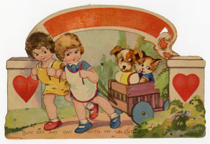 Antique 1920's MECHANICAL VALENTINE || Children Pulling Cart with Dog and Cat