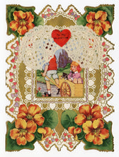Load image into Gallery viewer, Antique 1920's Layered Paper VALENTINE Card || Die-Cut with Dollies