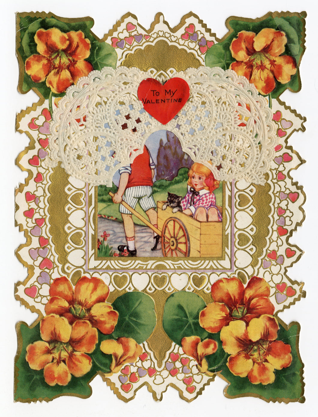 Antique 1920's Layered Paper VALENTINE Card || Die-Cut with Dollies