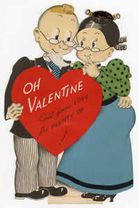 "Vintage NORCROSS Die-Cut, Stand-Up VALENTINE || Older Couple in Glasses ""Oh Valentine"""