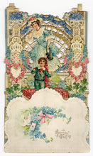 Load image into Gallery viewer, Antique Intricate Fold-Out VALENTINE || Georgian Woman and Child, Latticework