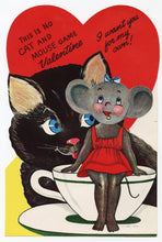 Load image into Gallery viewer, Assorted Unused 1950's VALENTINES with Envelopes || Cat and Mouse Game