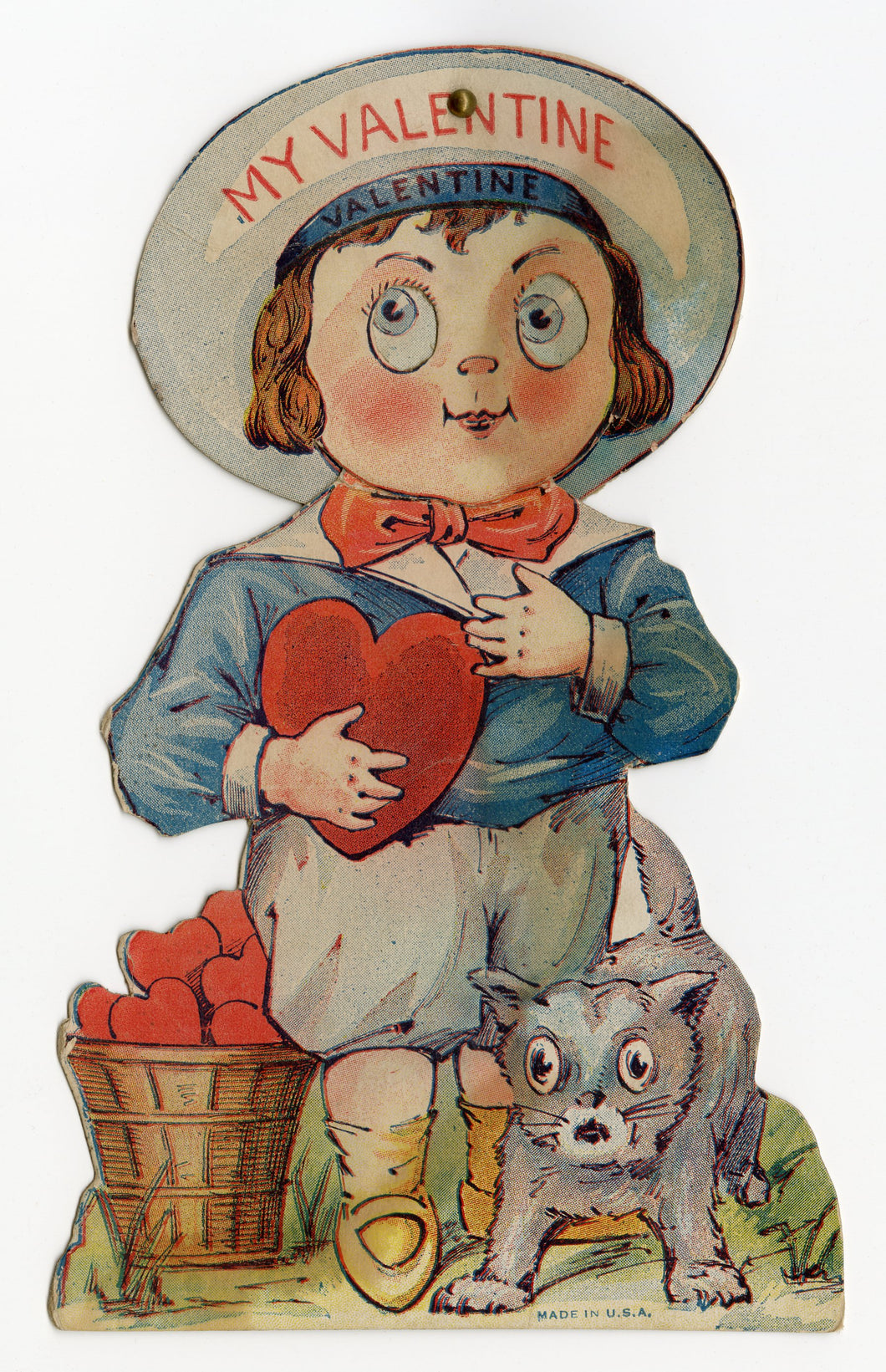 Antique MECHANICAL 1920's VALENTINE || Big Eyed Child with Nervous Cat