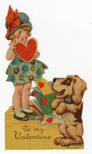 Load image into Gallery viewer, Antique 1920's VALENTINE Card || Little Girl and Dog Receiving Mail