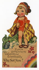 "Antique 1920's-1930's VALENTINE Bathing Beauty with Rainbow Border || ""Why Not Now?"""
