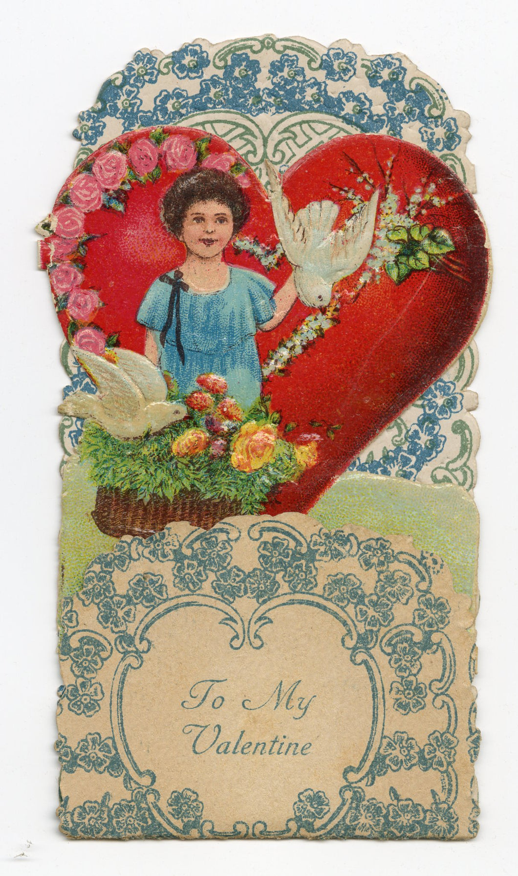 Antique Fold-Out Three Dimensional 1920's VALENTINE || Little Girl, Doves and Basket of Flowers