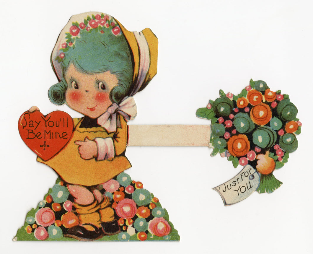 Antique Fold-Out 1920's VALENTINE, Little Girl with Blue Hair ||