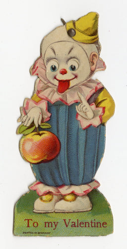 Antique MECHANICAL 1920's Clown VALENTINE Holding Large Apple || Moving Eyes