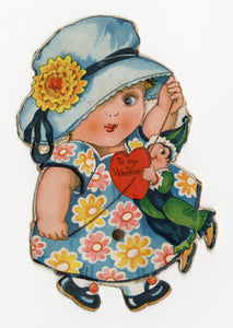 Antique MECHANICAL 1920's VALENTINE || Small Girl Walking with Puppet on a String