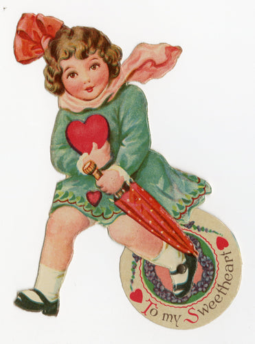 Antique MECHANICAL 1920's-1930's VALENTINE, Girl with Umbrella and Heart ||