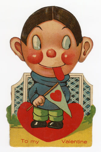 Antique Standup 1920's-1930's VALENTINE || Collegiate Boy with Tongue Sticking Out