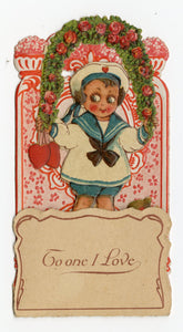 "Antique Pop-Out Diorama 1920's VALENTINE Card || ""I Continue True"""
