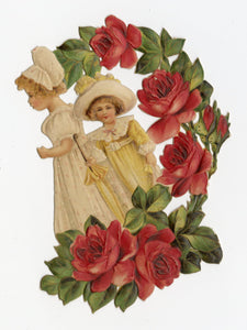 Antique 1910's-1920's Embossed VALENTINE/ SCRAP || Two Girls Surrounded By Flowers