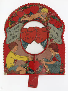 "Antique MECHANICAL 1920's VALENTINE || ""Two Hearts that Beat as One"""