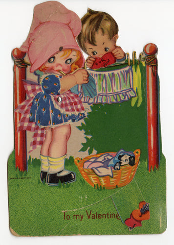 Antique MECHANICAL 1920's-1930's VALENTINE || Girl and Boy at Clothesline