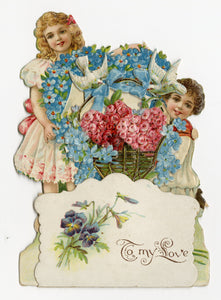 "Antique 1910's-1920's Popup VALENTINE, Children with Basket of Roses || ""To My Love"""