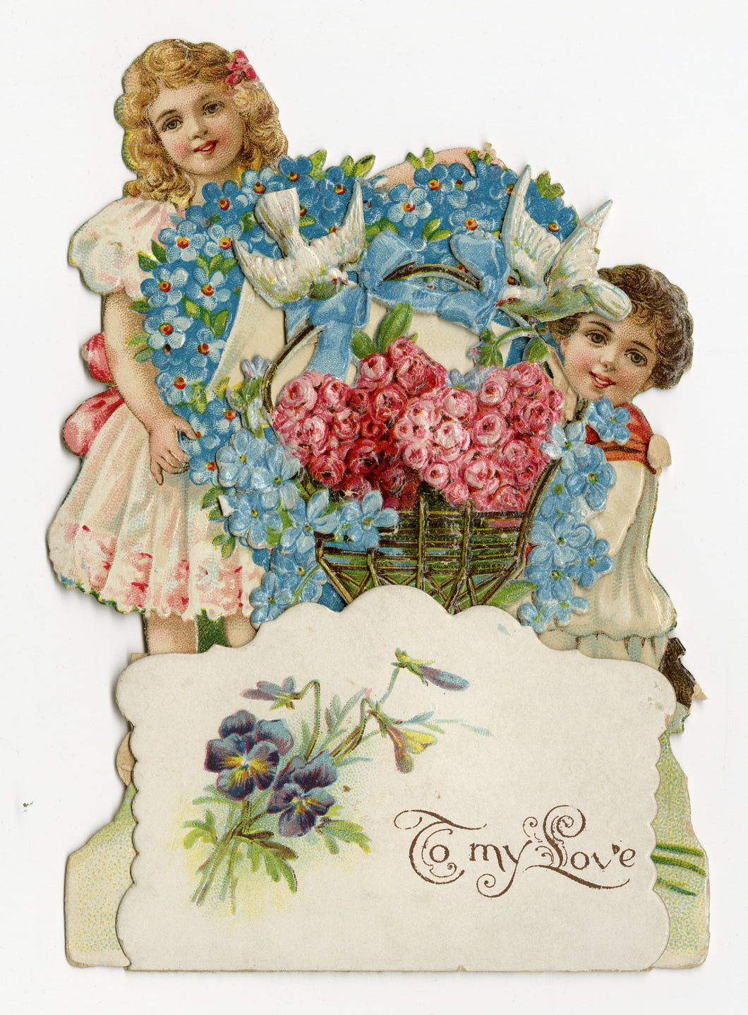 Antique 1910's-1920's Popup VALENTINE, Children with Basket of Roses ||