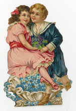 Load image into Gallery viewer, Antique Embossed Stand-Up VALENTINE || Boy and Girl Atop Clamshell