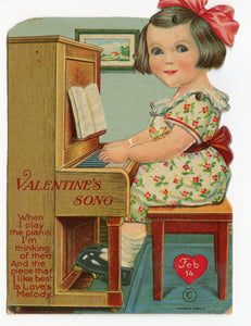 "Antique MECHANICAL 1920's VALENTINE, Piano Playing Girl  || ""Valentine's Song"""