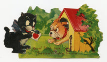"Load image into Gallery viewer, Antique MECHANICAL 1920's-1930's VALENTINE, Cat and Dog || ""Don't Bark"""