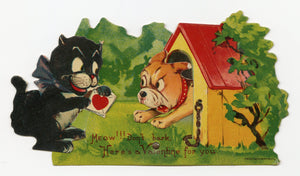 "Antique MECHANICAL 1920's-1930's VALENTINE, Cat and Dog || ""Don't Bark"""