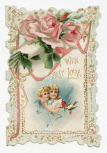 "Load image into Gallery viewer, Antique 1910's VALENTINE'S DAY Card || ""With Love and Best Wishes"""