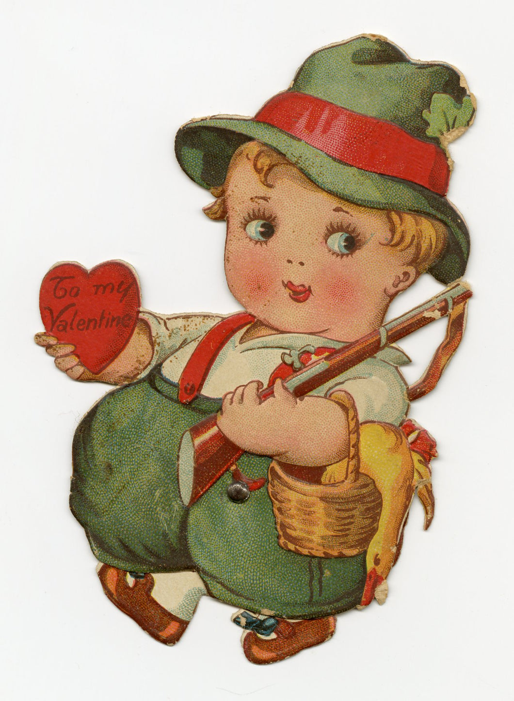 Antique MECHANICAL 1920's VALENTINE || Bavarian Boy with Moving Legs