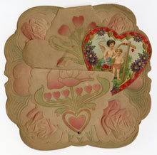 "Load image into Gallery viewer, Antique 1910's Paper VALENTINE, Art Nouveau Design || ""Loving Wishes"""