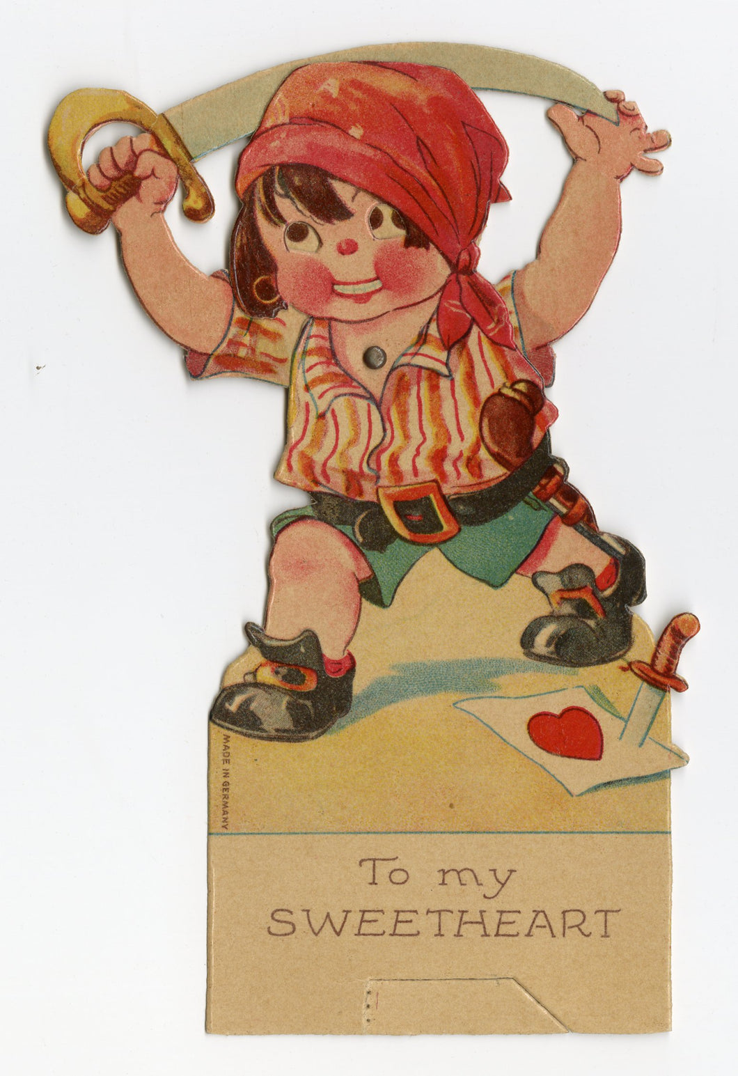 Antique MECHANICAL 1920's VALENTINE, Pirate Boy with Sword ||