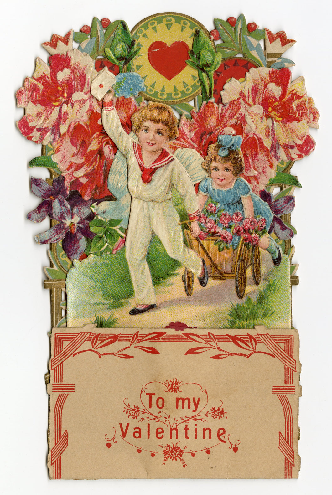 Antique POPUP 1920's VALENTINE, Little Boy and Girl Pulling a Cart ||